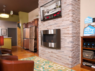 Stacked stone for fireplace and hardwood flooring for sale in Tacoma WA
