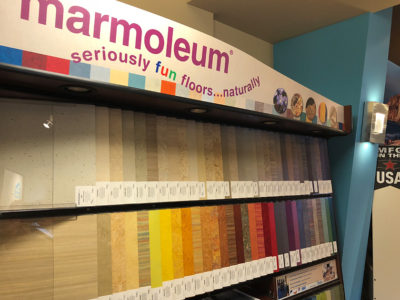 Marmoleum display in flooring gallery located in University Place, WA