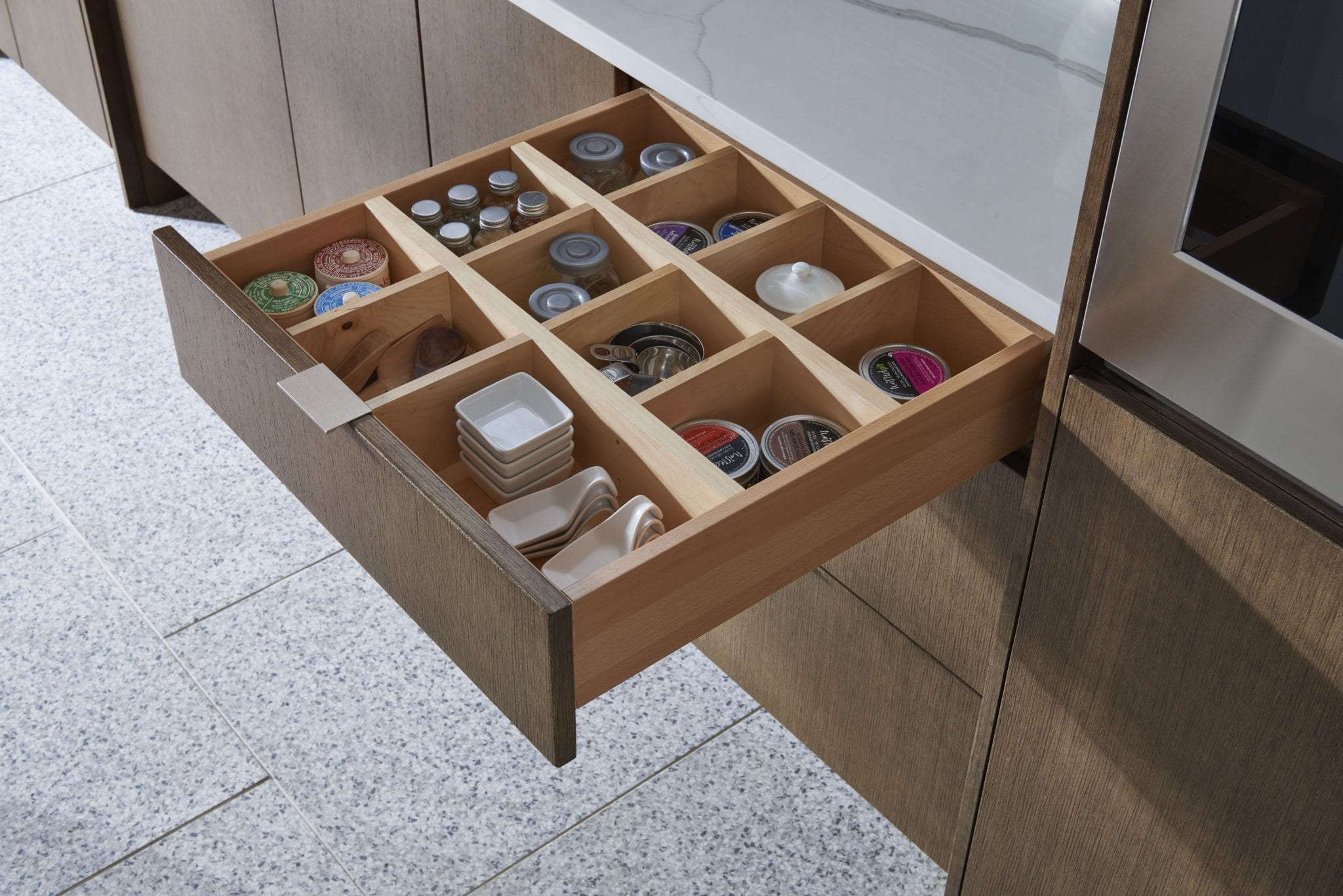 Tacoma WA Cabinets with drawer organizer by Medallion Cabinetry
