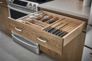 Tacoma WA Cabinets with drawer organizer tray or knife block